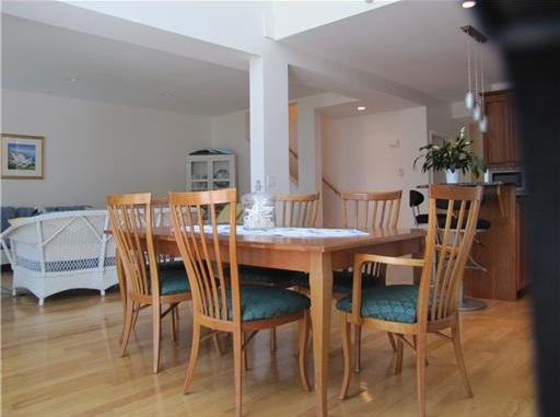 Dining room in a condo with Big Open Floor Plan - real estate listing on the coast of Maine with Views of Penobscot Bay in  Belfast, Maine