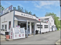 Bayside Store offers a full line of wine, beer and groceries but is best known for its signature subs, pizzas and salad