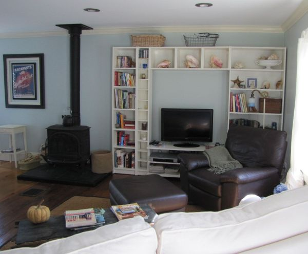 Livingroom of a real estate listing on the coast of Maine with Views of the harbor in Belfast, Maine