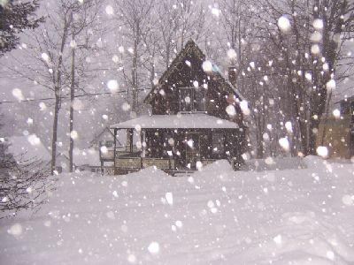 Cottage in snowstorm in the village of Bayside on the coast of Maine
