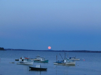 Lobsterboats Moonrise Lincolnville Beach Maine