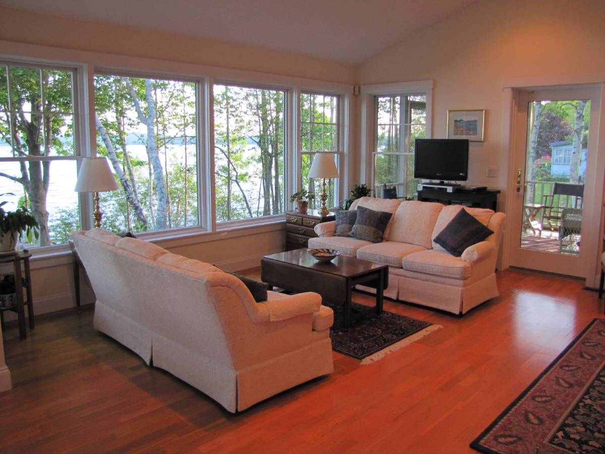 Livingroom of a real estate listing on the coast of Maine with Views of Penobscot Bay in 