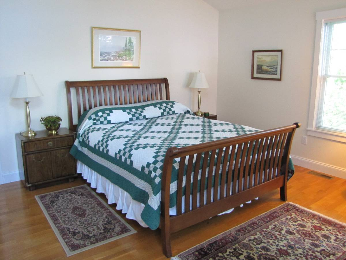 Bedroom of a Waterfront home with Ocean Views of Penobscot Bay - 