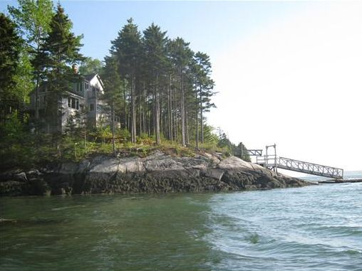 Maine Real Estate Listing with Dock and Pier Private Oceanfront Home on Maine's Sheepscot River